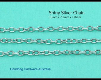 Silver Chain - 10mm x 7.2mm x 1.8mm - Purses, Bags and more