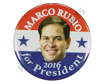 "2016 MARCO RUBIO for PRESIDENT Campaign Button, 2.25"" Diameter mrsd"