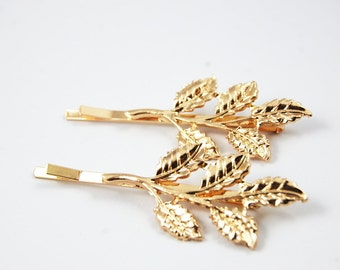 Set of 2 Two Gold Plated Hair Pins Clips Olive Leaf Branch