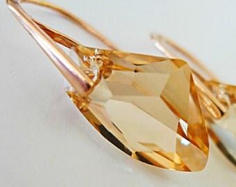 Golden Swarovski Earrings Rose Gold Champagne Swarovski Crystal 24k Gold Cream Vanilla Swarovski Briolette Golden Shadow Light Topaz Dainty