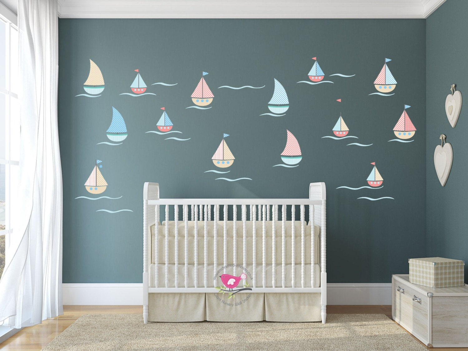 sailing boat wall decals nautical nursery baby decor wall. Black Bedroom Furniture Sets. Home Design Ideas