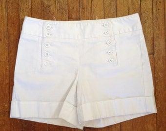 White cotton sailor shorts. 1990's shorts size small