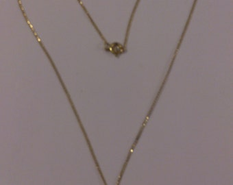 vintage 9ct gold Garnet teardrop pendant and chain
