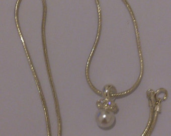 vintage sterling silver pearl drop necklace