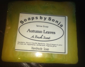 Autumn Leaves scented handmade soap, tallow soap, fresh scent