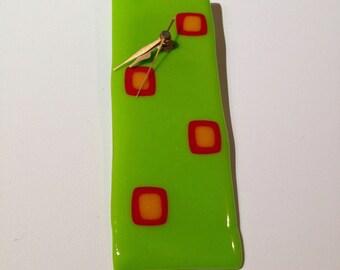 Wall Clock, Modern Wall Clock, Funky Clock, Fused Glass Clock, Lime Green Clock