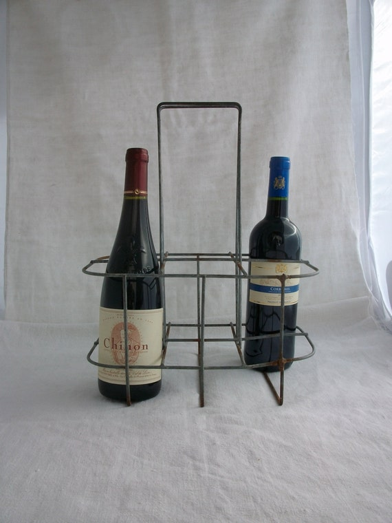 Wire bottle carrier basket 1920s french wine basket six - Wire wine bottle carrier ...