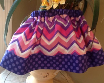 Pink and Purple Chevron and Dots Skirt, (baby, toddler, girls, infant, child)