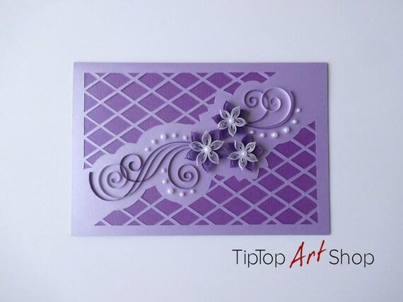 Biglietti Auguri Matrimonio Quilling : Carta quilling fatti a mano con fiori di d in lilla