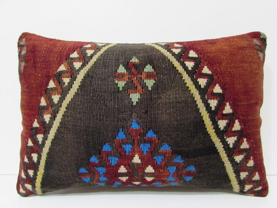 red long pillow black 16X24 ethnic throw pillow extra large