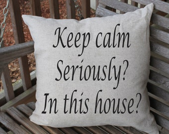 Pillow Cushion Cover, Keep Calm, Funny Pillow, Sarcastic Humor, Family Quote Pillow, Funny Home Decor, 18 x 18 cushion