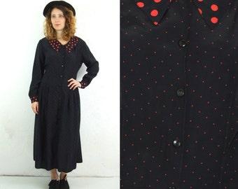 70's vintage women's black spotted dress