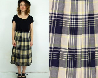 80's vintage women's yellow-blue checked high waisted pleated skirt