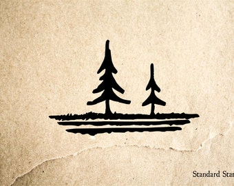 Pine Tree Pair Rubber Stamp - 2 x 2 inches