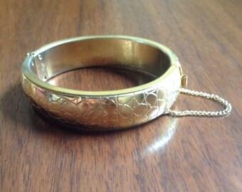 Vintage Gold Tone Metal Reptile Bangle Bracelet.