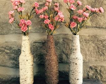 Upcycled yarn wrapped bottles, vase, rustic vase,