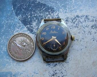Vintage RARE Early Pobeda type watch NEVA black / Soviet Union Pobeda Petrodvoretz factory Raketa / mechanical watch from USSR era 1960s
