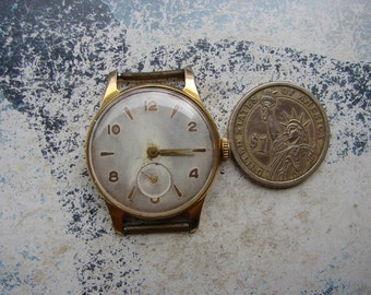 Rare Vintage Soviet Russian Mens Watch POBEDA /  Gold Plated Watch MCHZ 2 / Mechanical watch / USSR / Soviet era 1960s / collectible watch