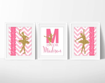 Ballet Prints, Dance Printable, Ballet Nursery 8x10 Glitter, Downloadable Art, Set of 3 Dance Printables, Digital JPG Files