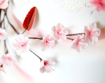 Long cherry blossom branch. Edible flowers for wedding or celebration cakes.