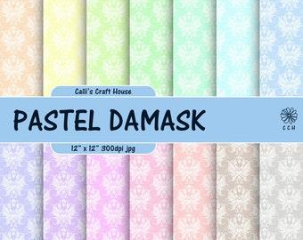Pastel Damask Digital Papers - Damask background - pastel backgrounds in soft colors - Commercial Use - Instant Download