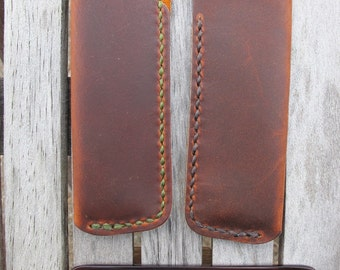 Handmade Leather Pocket Comb Case With Kent Sawcut Handmade Comb Handcrafted - Retan Pull Up Brown