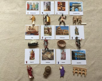 Montessori Ancient Rome Historical Replica 5 Part Cards Set with Extra Large Miniatures