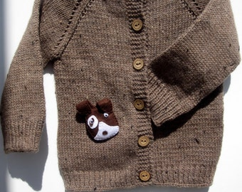 Brow merino wool sweater for children / Brown hand knitted cardigan for baby - kids/ Children sweater, jacket