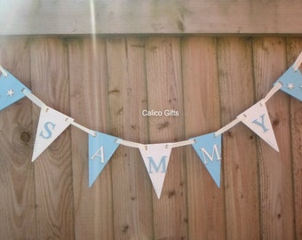 wooden bunting new baby gift baby blue bunting christening gift personalised bunting