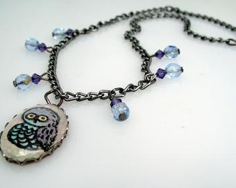 Watercolor Owl Cameo Pendant