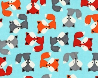 Fox Fabric - Urban Zoologie by Ann Kelle - Robert Kaufman. Red, Orange & Gray foxes on Sky Blue. 100% cotton. AAK-14723-63 - Fat Quarter