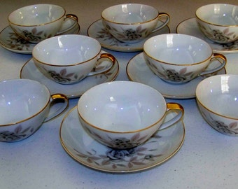 Mikasa Rosecrest Fine China Set Of Eight Cups & Six Saucers