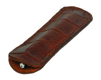 Leather Single Pen Sleeve, Handmade, Mahogany Crocodile Grain Leather, Fits 1 Pen