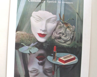 Vintage Cussons lipstick advert, 1940s advertising, home decor picture