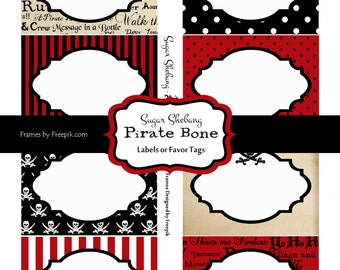 INSTANT Download Party Labels - Pirate Birthday Party Food Labels - EDITABLE text & PRINTABLE, Pirate Party Supplies