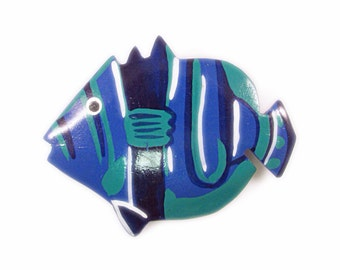 Colorful Painted Tropical Fish Brooch