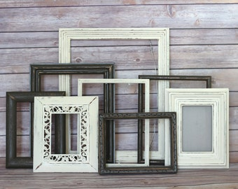 rustic nursery decor frame collage picture frame set distressed frame set woodland nursery cottage decor baby boy nursery