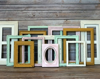 Custom Gold White Pink Mint Shabby Frame Set Distressed Frames with Glass Backing