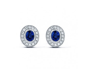 Vintage Sapphire Earrings With Milgrain