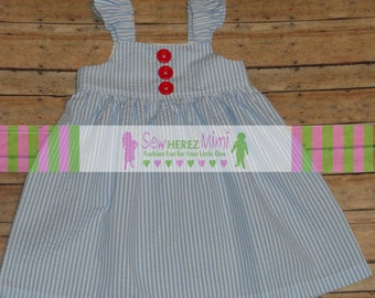 Blue Seersucker Sundress with Red Buttons 6-9 mo 12-18 mo 2T 3T 4T 5T 6 7 8