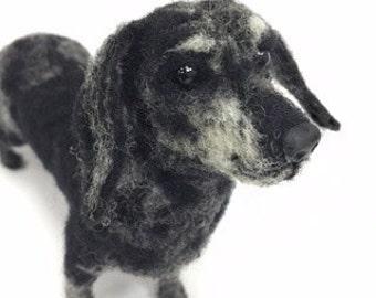 Needle Felted Miniature Dachshund Pet Portrait