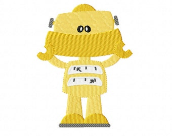 Little Yellow ROBOT ~ Filled Machine Embroidery Design in 2 sizes