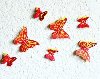 3d Butterfly Wall Art, Butterfly decor, Paper butterflies, 3d butterflies, Red Wall decor, Wall butterflies, Red wall art