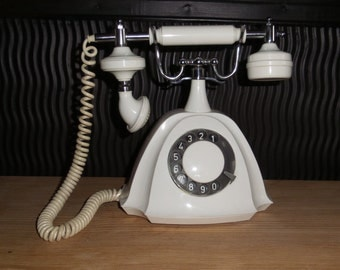Vintage white rotary phone, Princess phone, Old Hollywood style phone