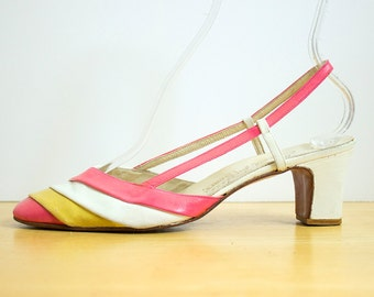 Vintage 60s STRIPED Leather MOD SLINGBACKS   1960s Pink Yellow White Pastel Spring Strappy High Heels (womens 8 38)