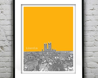 1 Day Only Sale 10% Off - Lincoln England Poster Art Print UK Britain United Kingdom