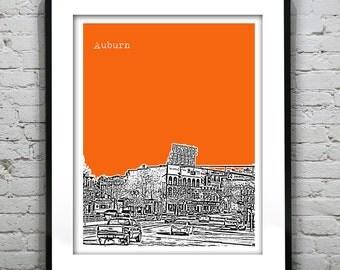 Auburn New York Skyline Poster Art Print