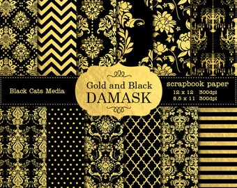 Black and Gold Damask Wedding papers, Gold and Black Wedding Scrapbook Background, Black and Gold Wedding Paper, Instant Download