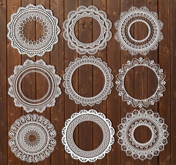 Lace Doilies Clipart Digital White Lace Clip Art Vintage