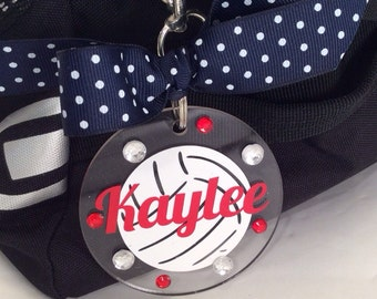 Volleyball Bag Tag with white ball, Personalized